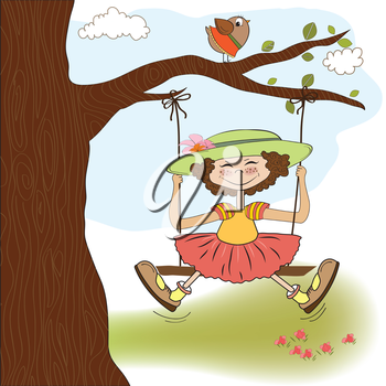 Royalty Free Clipart Image of a Girl on a Tree Swing