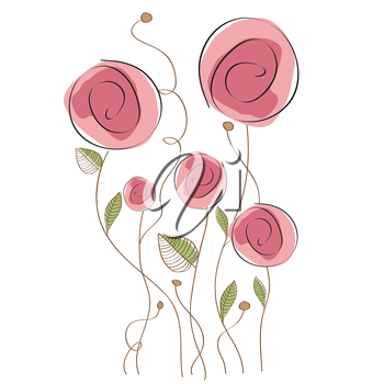 Royalty Free Clipart Image of Pink Flowers