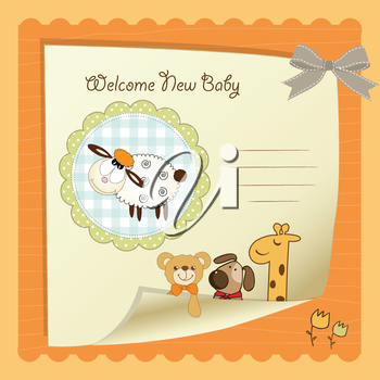 Royalty Free Clipart Image of a Welcome Baby Card
