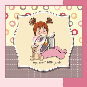 sweet little girl reading a book, vector illustration