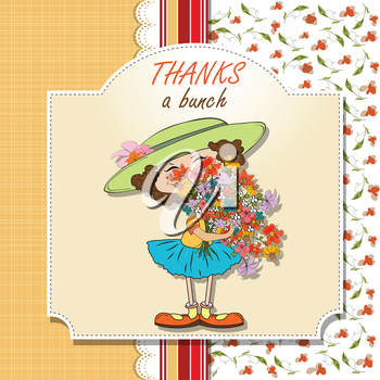 funny girl with a bunch of flowers, vector illustration
