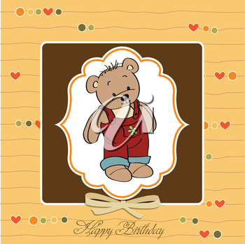 birthday greeting card with teddy bear