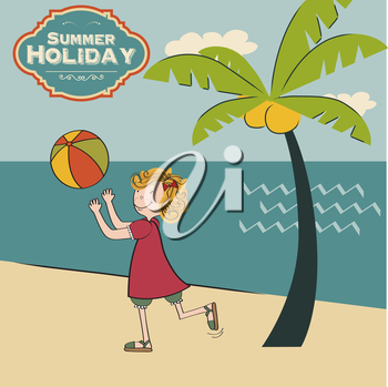 girl playing ball on the beach, vector illustration