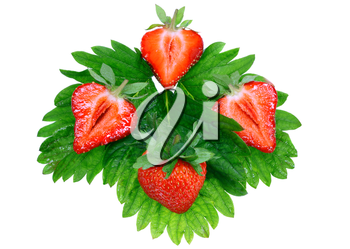 A heap of fresh strawberries on green foliage . Isolated