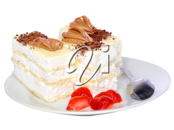 Sponge cakes, frozen strawberry with cup of coffee on plate with fruit-juice decoration . Isolated