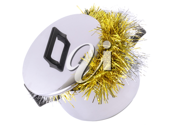 Funny Christmas and New Year-tinsel in  saucepan. Isolated over white