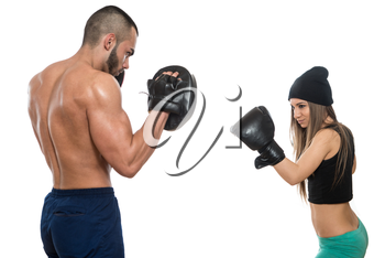 Young Muscular Couple In Gloves With A Naked Torso Boxing -  Isolated On White Background