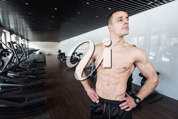 Handsome Man Standing Strong In A Modern Gym And Flexing Muscles - Muscular Athletic Bodybuilder Fitness Model Posing After Exercises