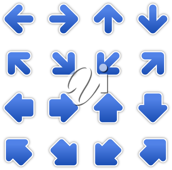 Royalty Free Clipart Image of a Bunch of Blue Arrows