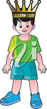 Royalty Free Clipart Image of a Boy Wearing a Crown