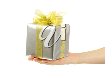 Royalty Free Photo of a Silver Gift With a Gold Bow