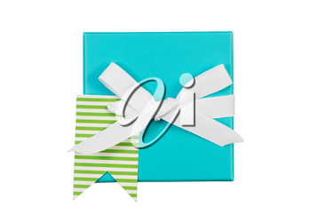 Top view of new aqua color wrapped gift box and white bow isolated on white