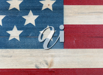 United States flag painted on rustic wooden background