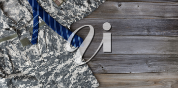Military uniform shirt with blue necktie for Fathers Day Concept background
