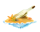 Bottle with a letter in the sand vector illustration