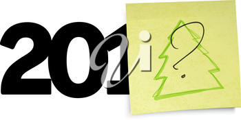New year concept with question sign an yellow sticky papers. Vector illustration, EPS10.