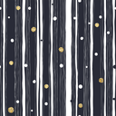 Abstract Hand Drawn Seamless Pattern with Black and White Lines and Golden Dots. Vector Template for Packaging Designs and Invitation Cards Decoration etc