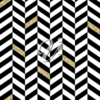 Classic Seamless Chevron Pattern. With Glittering Golden Parts