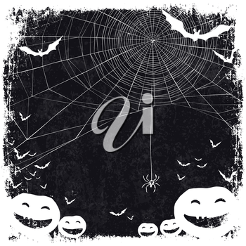 Halloween themed background with space for text. Halloween symbols - pumpkins, bats, spider web.