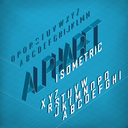 Isometric Alphabet. On blueprint abstract background. Two weights - bold and thin.