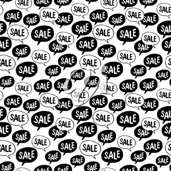 Black Friday Seamless pattern. Speech Bubble with Sale Word. Background for black friday advertising projects