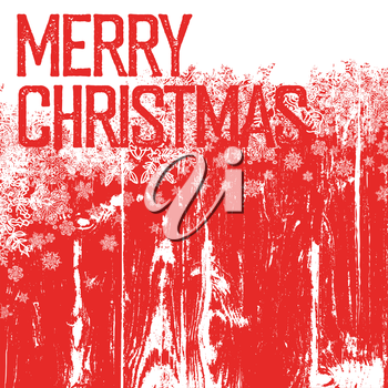 Merry christmas postcard template. Isolated up side (white background). On wooden texture with hand-drawn snowflakes