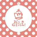 It's a girl lettering. Baby shower party design element. Vector greeting card.