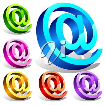 Set of 3d email symbols