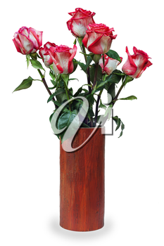 colorful flower bouquet from roses arrangement centerpiece in vase isolated on white background