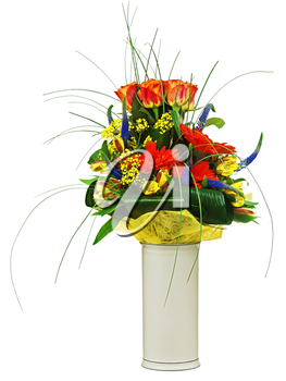 Colorful bouquet from roses and gerbera flowers isolated on white background. Closeup.
