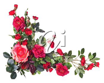 Bouquet from artificial red roses isolated on white background. Closeup.
