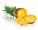 Ripe pineapple with slices isolated on white background. Closeup.