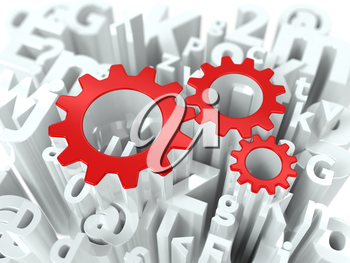 Red Pinion Gear on Alphabet Background. Business Background for Your Blog or Publication.
