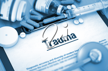 Trauma, Medical Concept with Selective Focus. Trauma, Medical Concept with Pills, Injections and Syringe. Trauma Diagnosis, Medical Concept. Composition of Medicaments. Toned Image. 3D Render.