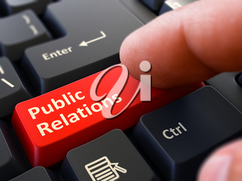 Public Relations Red Button - Finger Pushing Button of Black Computer Keyboard. Blurred Background. Closeup View. 3D Render.