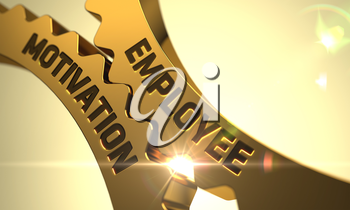 Employee Motivation - Concept. Employee Motivation Golden Metallic Cogwheels. Employee Motivation - Illustration with Glowing Light Effect. 3D Render.