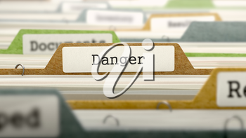 File Folder Labeled as Danger in Multicolor Archive. Closeup View. Blurred Image. 3D Render.