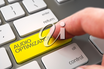 Business Concept - Male Finger Pointing Yellow Audio Optimization Key on Modern Keyboard. 3D Illustration.
