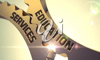 Education Services - Illustration with Glow Effect and Lens Flare. 3D.