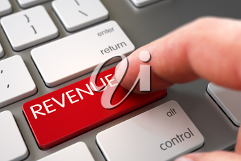 Finger Pushing Revenue Red Keypad on Metallic Keyboard. 3D Illustration.