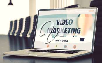 Video Marketing - Landing Page with Inscription on Mobile Computer Screen on Background of Comfortable Meeting Room in Modern Office. Closeup View. Blurred Image. Selective focus. 3D Illustration.