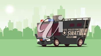 Police Van. Armored Special Forces Vehicle SWAT. Comic Cartoon Styled Side View Police Car on Orange Landscape Background. IsoFlat Styled Vector Illustration.