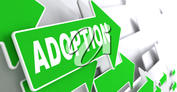 Adoption Concept. Green Arrows on a Grey Background Indicate the Direction.