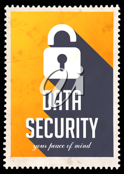 Data Security on Yellow Background. Vintage Concept in Flat Design with Long Shadows.