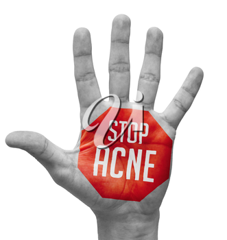 Stop Acne Sign Painted, Open Hand Raised, Isolated on White Background.