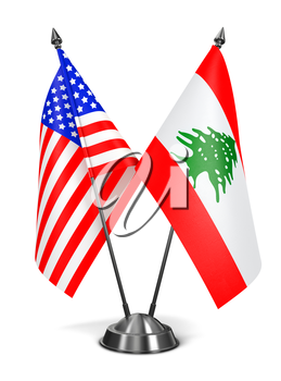 USA and Lebanon - Miniature Flags Isolated on White Background.
