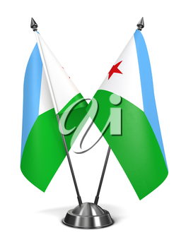 Djibouti - Miniature Flags Isolated on White Background.