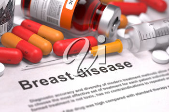 Breast Disease. Medical Concept with Composition of Medicaments - Red Pills, Injections and Syringe. Selective Focus. 3D Render.
