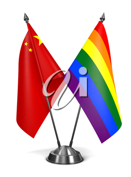 China and Gay - Miniature Flags Isolated on White Background.