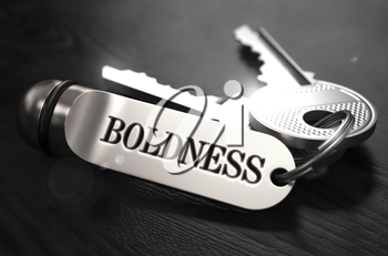 Boldness Concept. Keys with Keyring on Black Wooden Table. Closeup View, Selective Focus, 3D Render. Black and White Image.
